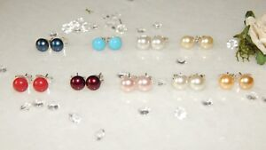 S/P Stud Earrings with 6mm Crystal Pearls-Choice of Colours-Wedding-Anniversary