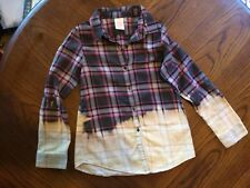 Girls Distressed Flannel Shirt Bleached Size 6/7