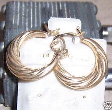Nice Hoop Swirl Women Fashion Earring 14K Yellow Gold