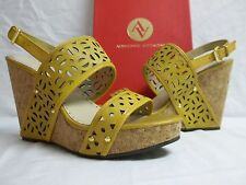 Adrienne Vittadini Sz 10 M Countiss Sun Leather Open Toe Wedges New Womens Shoes