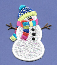 "Snowman - Winter - Snow -  White Confetti Snowman - Embroidered Details - 3""H"