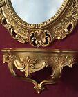 Specchio muro con Consolle Oro Barocco Oggetto d'antiquariato 45x37