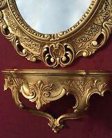 Miroir Mural Avec Table Console Or Baroque Antique 45x37 Miroir de Bain Dépôt