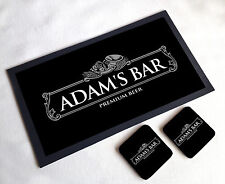 Personalised Silver Beer Label Home bar gift set bar runner 2 coasters