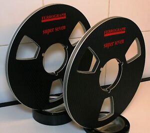 """2 X FERROGRAPH SUPER 7 BLACK VINAL LOOK METAL HUB REEL TO REEL 10.5"""" X 1/4"""""""