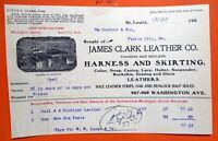 09-17-1907 JAMES CLARK LEATHER COMPANY SHOE STORE St Louis MO Bill Head