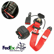 Red 3 Point Retractable Car Safety Seat Belts Seatbelts W/Buckle & Warning Cable