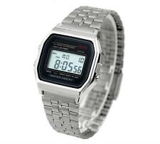Classic Silver Metal Watch Fashion Vintage Digital Display Retro LCD Style 80s