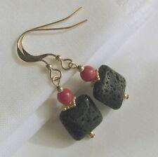 interessante Koralle & Lava Ohrringe Ohrhänger 585 14K Gold GF/ygf rot schwarz