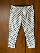 "ZARA JEANS White Blue Polkadot Spotty Print Summer Ripped UK 10 / 26"" Leg - NEW"