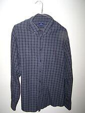 Dockers Button Up  Shirt Mens Size XL Black Gray plaid check 17-17 1/2 long slv