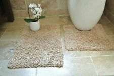 100 Cotton 2 Piece Tumble Twist Bath & Pedestal Toilet Mat Set - 11 X Colours Biscuit