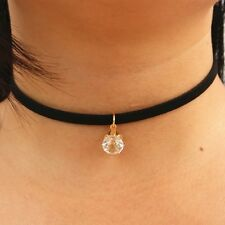 Choker with Simulated diamond necklace gold plated