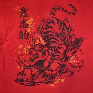 Miami Ink Chinese Tiger Men's Short Sleeve Graphic T Shirt Size 2XL Writing