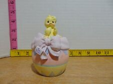 2001 Enesco Precious Moments Hatched With Love Chick/Flowers Covered Box Nib