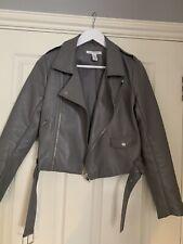 Women's Grey Faux Leather Biker Jacket With Belt Size 8