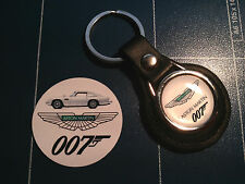 Aston Martin & 007 `James Bond`   Leather Key Rings,+ FREE JAMES BOND STICKER