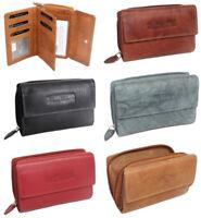Damen Geldbörse Leder Portemonnaie Geldbeutel für Frauen | viele Fächer 5 Farben