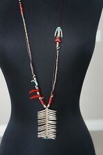 NEW Uno De 50 Long Silver Leather Glass Coral Statement Necklace HARD2FIND