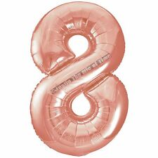 Rosé Gold Party Decoration Rose Wedding Birthday Kid's Year's Eve Set Foil Balloon Number 8