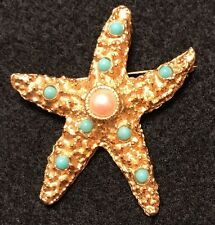 Yosca Starfish Pin Brooch Gold Tone With Turquoise Color & Faux Pearl