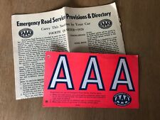 Vtg 1970 AAA Automobile Club of Washington Provisions & Directory Emergency Sign