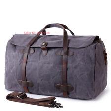 Men's Vintage Travel Canvas Luggage Genuine Leather Duffle Bag Handbag Large NEW