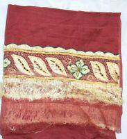 Vintage Dupatta Long Stole Chiffon Silk Maroon Veil Hand Beaded Tie & Dy
