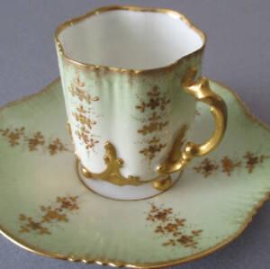 Antique HP Limoges Porcelain Demitasse Cup + Saucer Raised GILT Paste BALL Feet
