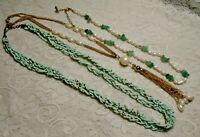 VINTAGE TO NOW ASSORTED GREEN GLASS STONE & PEARL BEADED NECKLACE LOT