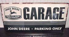 JOHN DEERE GARAGE/ PARKING ONLY, EMBOSSED 3D XL METAL SIGN 50X25cm  TRACTORS