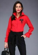 FREESIA Elegant Business Work Smart Red buttons Shirt with brooch M