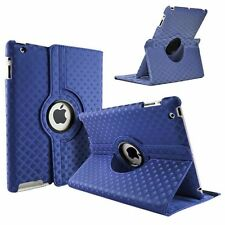 Dark blue Fashion Diamond Leather 360° Rotating Stand Case Cover For iPad 2/3/4