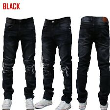 MEN Jeans Slim STRETCH FIT Trousers  BIKER Pants SKINNY FIT AKADEMIKS STYLE