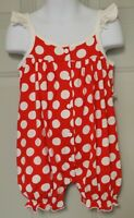 RED & WHITE POLKA DOT BABY GIRL'S SUMMER ROMPER SLEEVELESS RUFFLE SNAP CROTCH