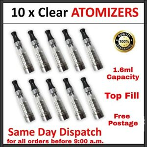 10 x CLEAR ATOMISER CLEAROMISER E CIG VAPE TOPS TANKS ATOMIZER CLEAROMIZER UK