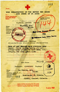 1943 Jersey Channel Iles RED CROSS P.O.W. mail to relatives with hidden messages