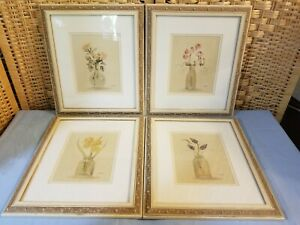 Framed Cheri Blum Print Set French Country Flowers in Jars 14″x12″ Set of 4