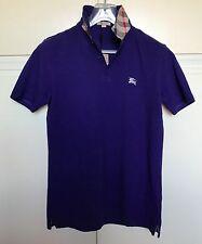 maglia polo uomo BURBERRY BRIT blu colletto check mezza manica tg. S polo shirt