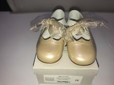 Gux s - Girls Beige and Silver Leather Dress Shoes Kids Size 26 Angelito  Calados fd2f704cf070