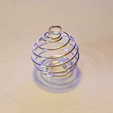 Jewelry Bead Cage Pendant Spiral Silver Plated 29x24mm -- NEW