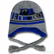 Star Wars R2D2 Laplander Hat Licensed Adult Knitted Peruvian Cap Winter Tuque