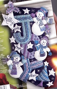 Bucilla Joy Snowmen Snowman Purple Blue White Christmas Felt Stocking Kit 86328