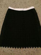 DKNYC Black White Overlay Lined Skirt Sz 4 Euc