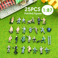 25PCS 1:87 Painted Figures Different Poses Workers HO Scale Accessories ABS 20mm