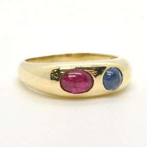 Gents Mens 14k Yellow Gold 585 Cabochon Ruby & Sapphire Gemstone Band Ring