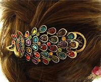 Girl Vintages Pfau Schwanz Strass Pfau Haarspange Haarnadel Haarspange mode STDE