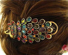 Lady Girl Vintage Peacock Tail Rhinestone Peacock Barrette Hairpin Hair Clip JS
