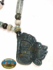 RARE OLMEC BLUE GUATEMALAN MAYAN FACE JADE PENDANT NECKLACE rough MAYAN MOUNTAIN