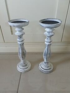 Large Modern Wooden Candlesticks..40 cm tall..excellent Condition